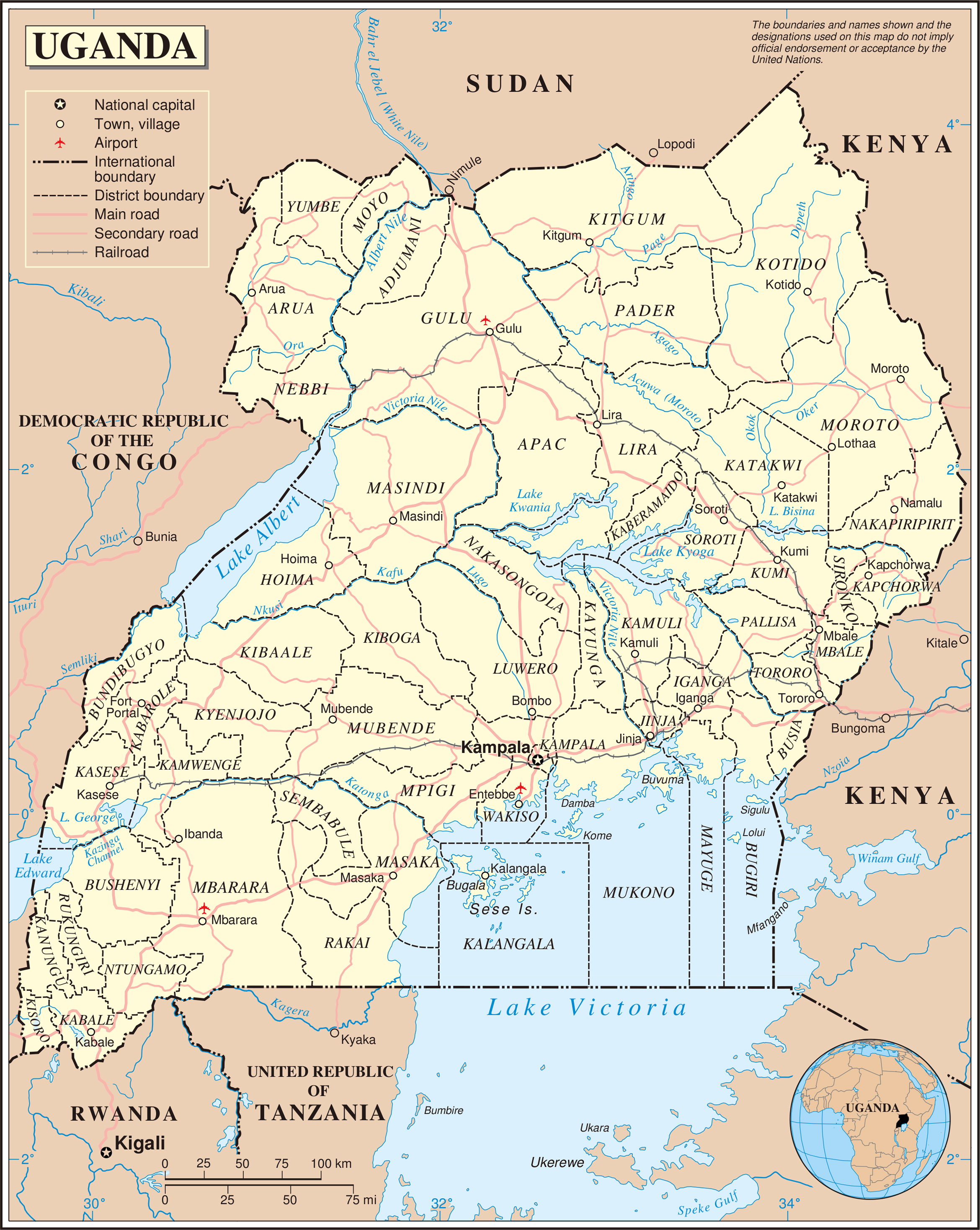 Large detailed political and administrative map of Uganda with all
