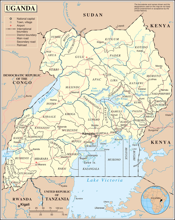 Large detailed political and administrative map of Uganda with all cities, roads and airports.