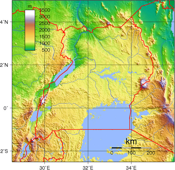 Large topographical map of Uganda. Uganda large topographical map.