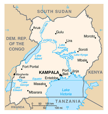 Map of Uganda. Uganda map.