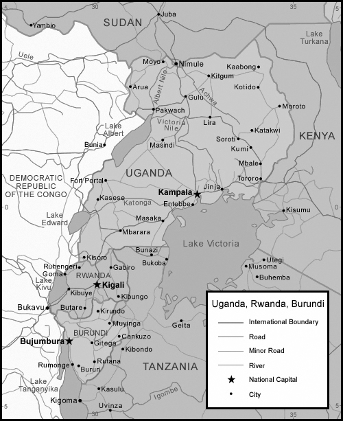 Political map of Uganda,