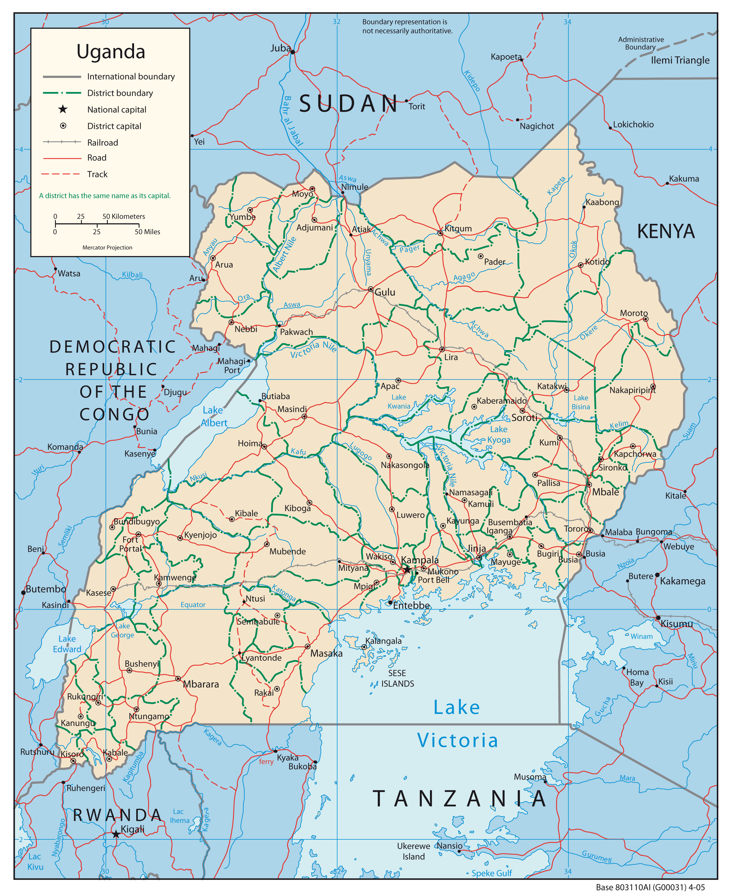 Political map of Uganda with cities Uganda political map with