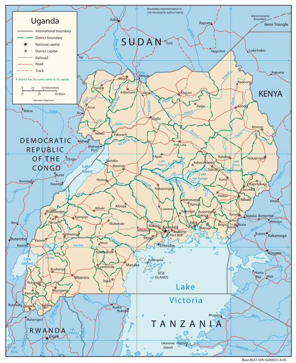 Political map of Uganda with cities. Uganda political map with cities.