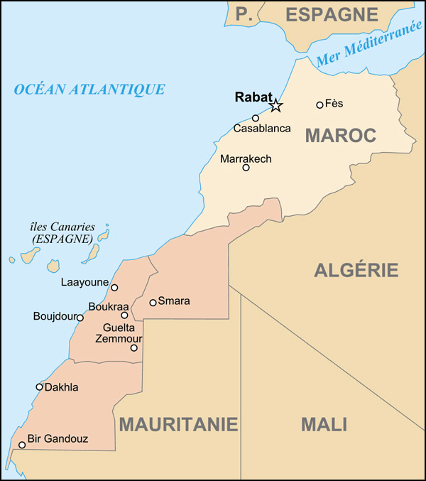 Detailed administrative map of Morocco and Western Sahara.