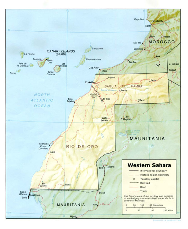 Detailed relief and political map of Western Sahara. Western Sahara detailed relief and political map.