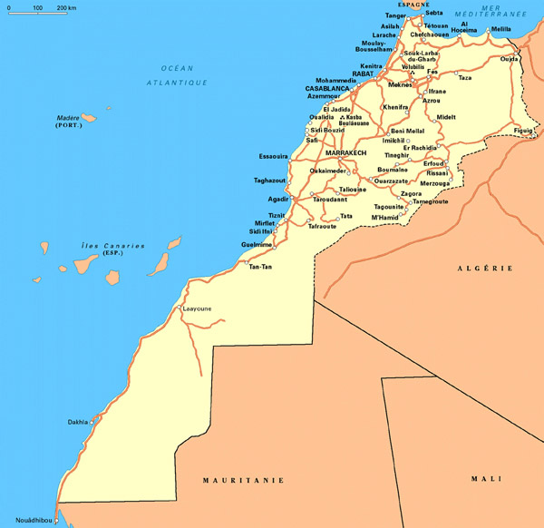 Detailed road map of Western Sahara and Morocco. Western Sahara and Morocco detailed road map.