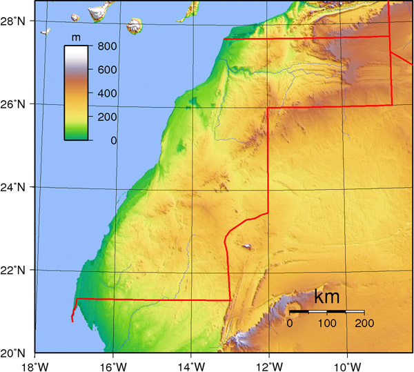 Detailed Western Sahara topographical map. Western Sahara detailed topographical map.