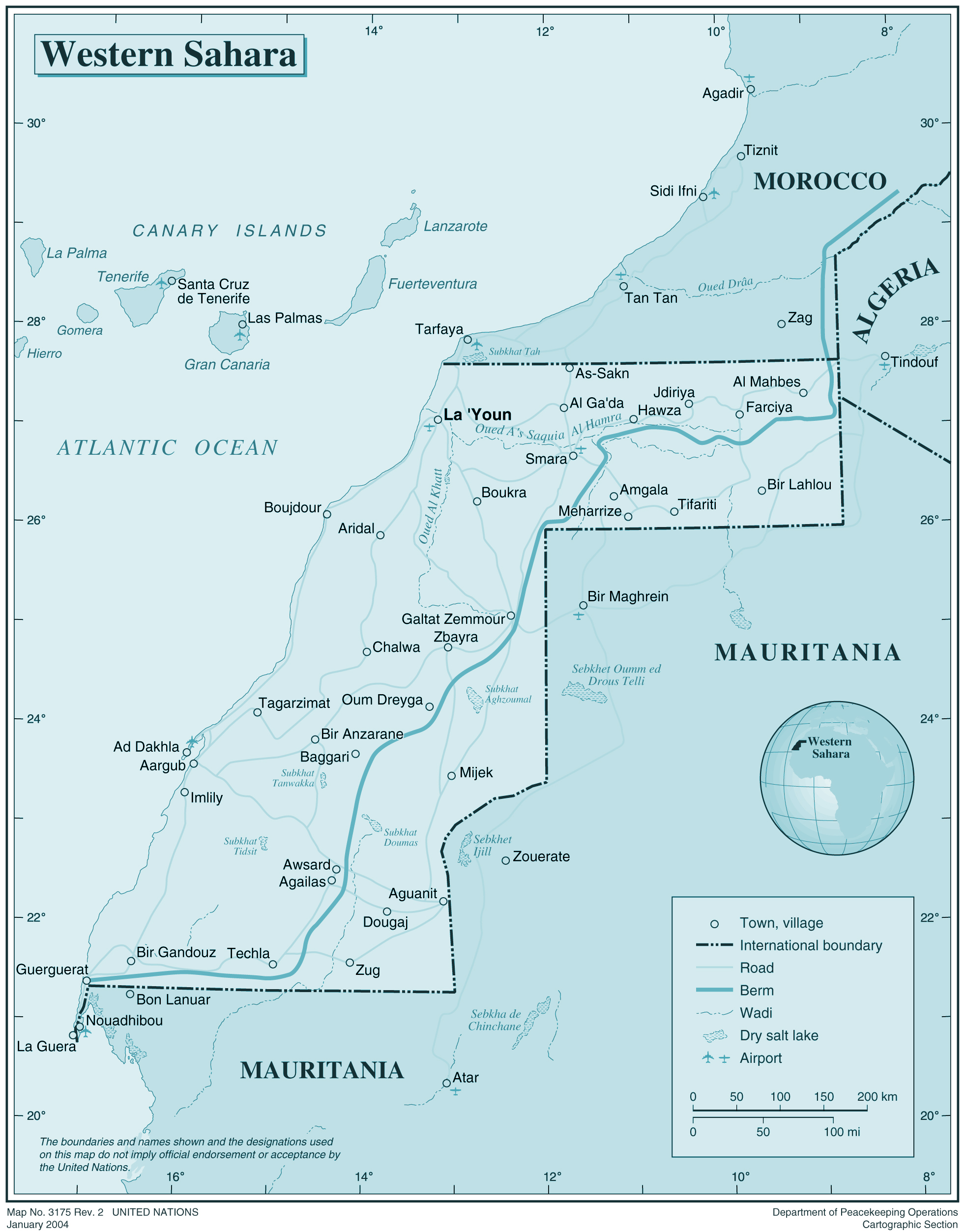 Large detailed political map of Western Sahara with all cities and