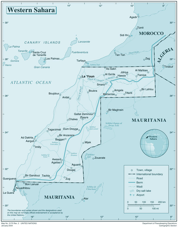 Large detailed political map of Western Sahara with all cities and roads.
