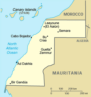 Map of Western Sahara. Western Sahara map.