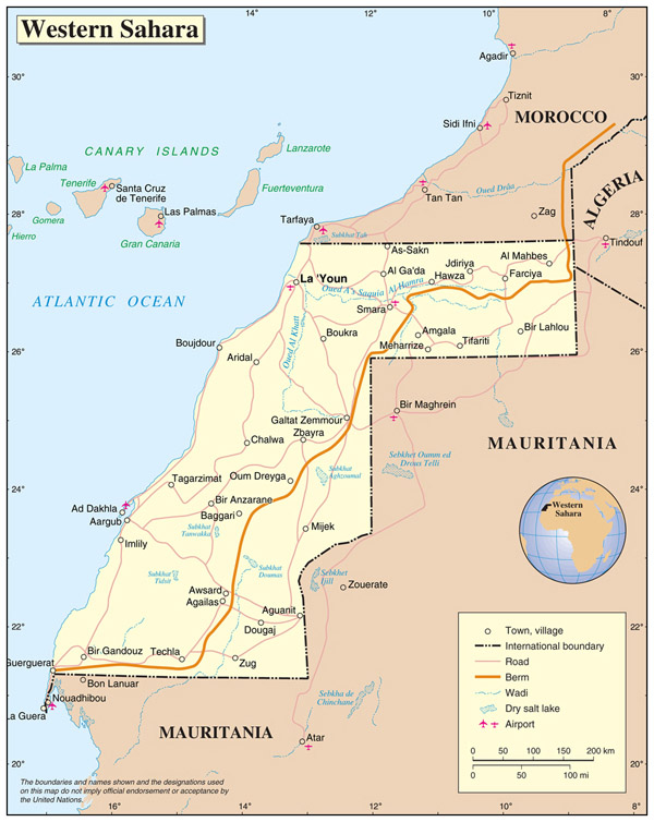 Political map of Western Sahara with cities. Western Sahara political map with cities.