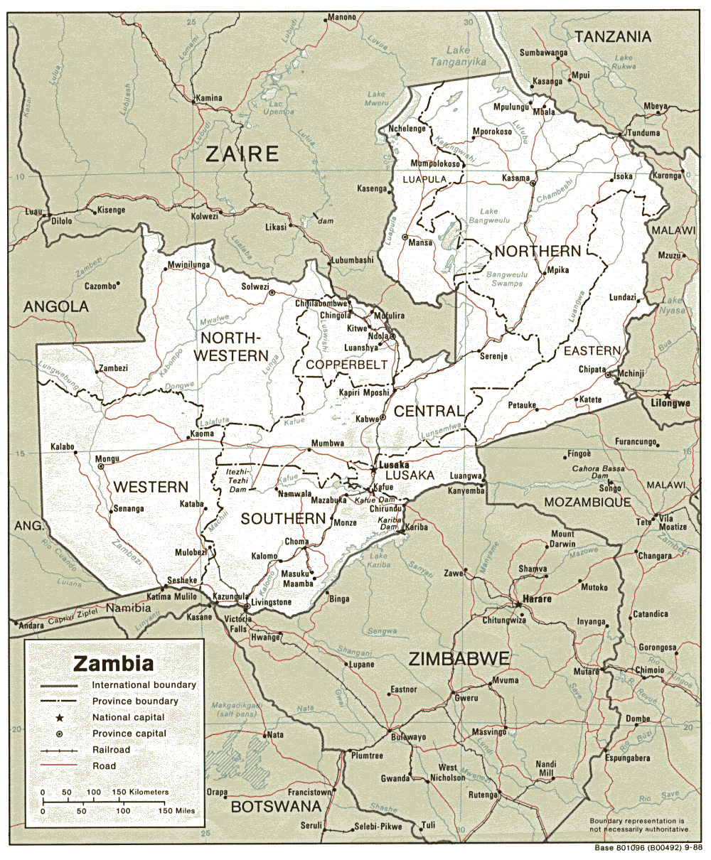Detailed political and administrative map of Zambia Zambia detailed