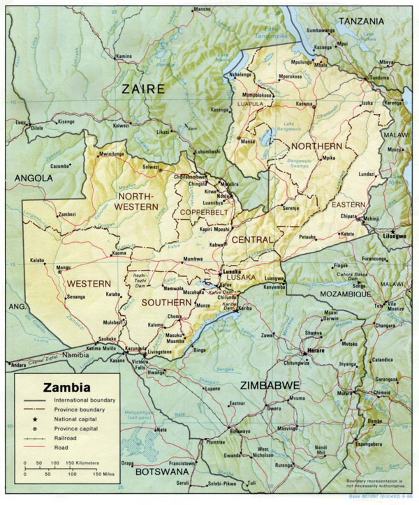 Detailed relief and administrative map of Zambia. Zambia detailed relief and administrative map.
