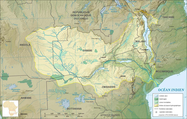 Detailed relief map of Zambia. Zambia detailed relief map.