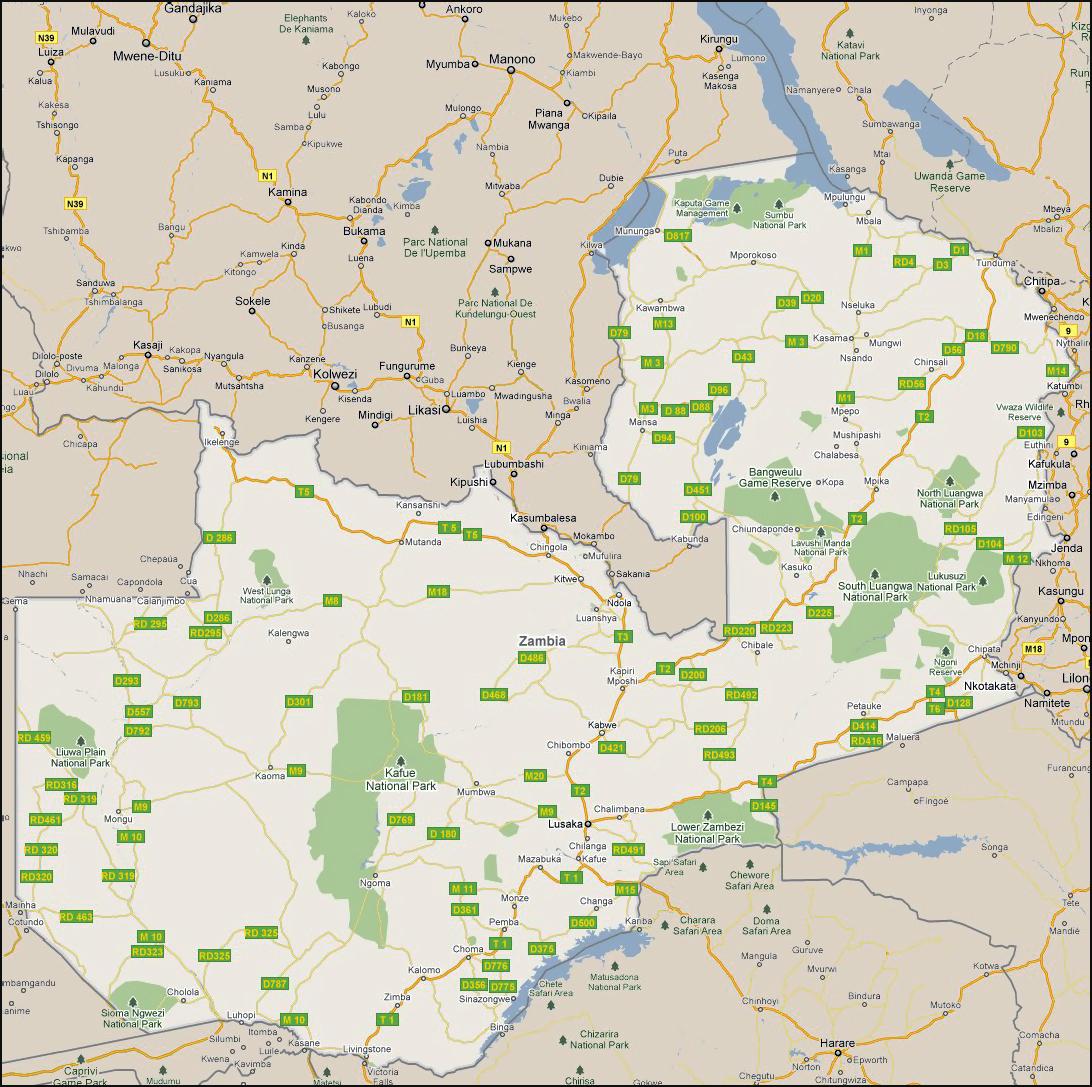 Detailed Road Map Of Zambia Zambia Detailed Road Map Vidiani - Zambia map