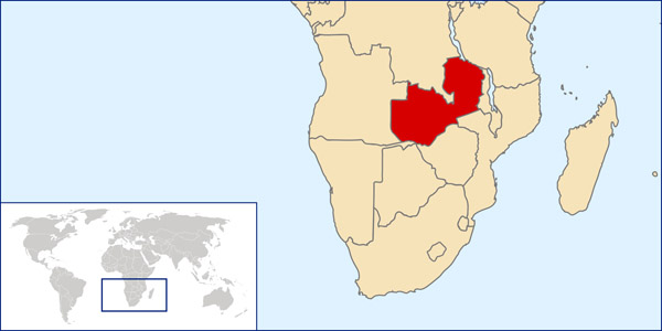 Detailed Zambia location map. Detailed location map of Zambia.