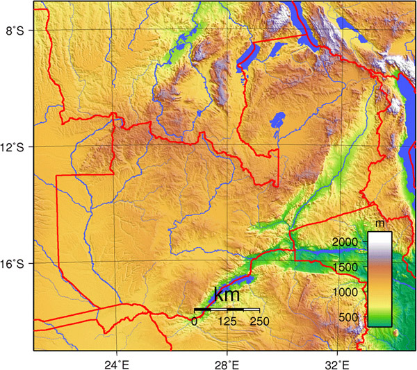 Detailed Zambia topographical map. Zambia detailed topographical map.
