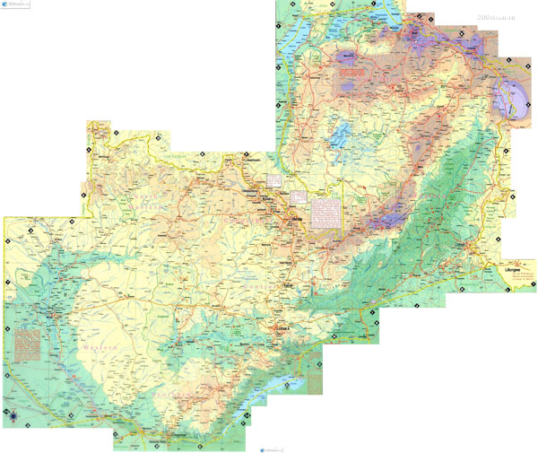 Large detailed road and physical map of Zambia. Zambia large detailed road and physical map.