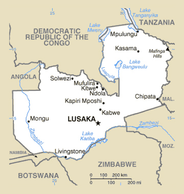 Map of Zambia. Zambia map.
