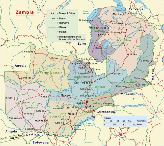 Images and Places Pictures and Info zambia map provinces