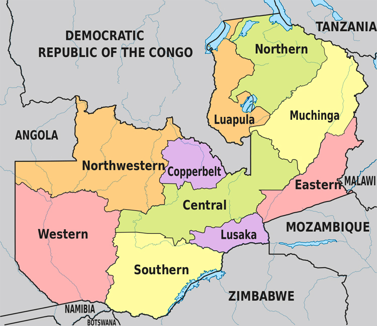 Zambia map with provinces. Zambia map with the provinces name.