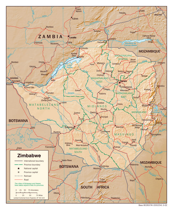 Detailed administrative map of Zimbabwe with relief.