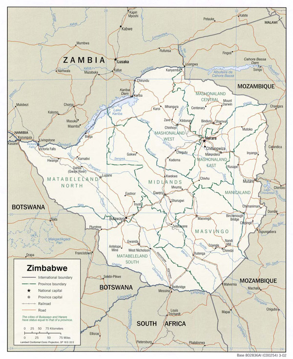 Detailed political and administrative map of Zimbabwe.