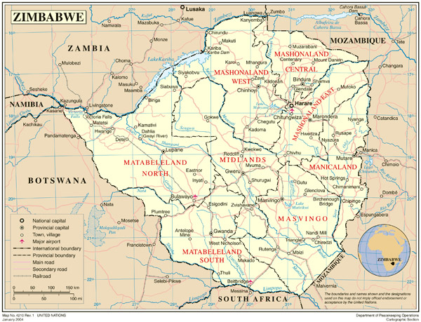 Detailed political and administrative map of Zimbabwe with all cities and roads.