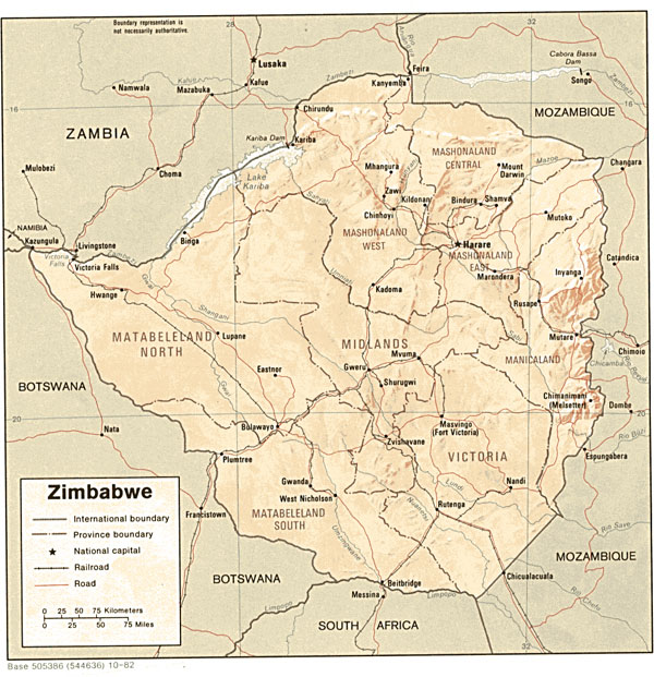 Detailed relief and administrative map of Zimbabwe.