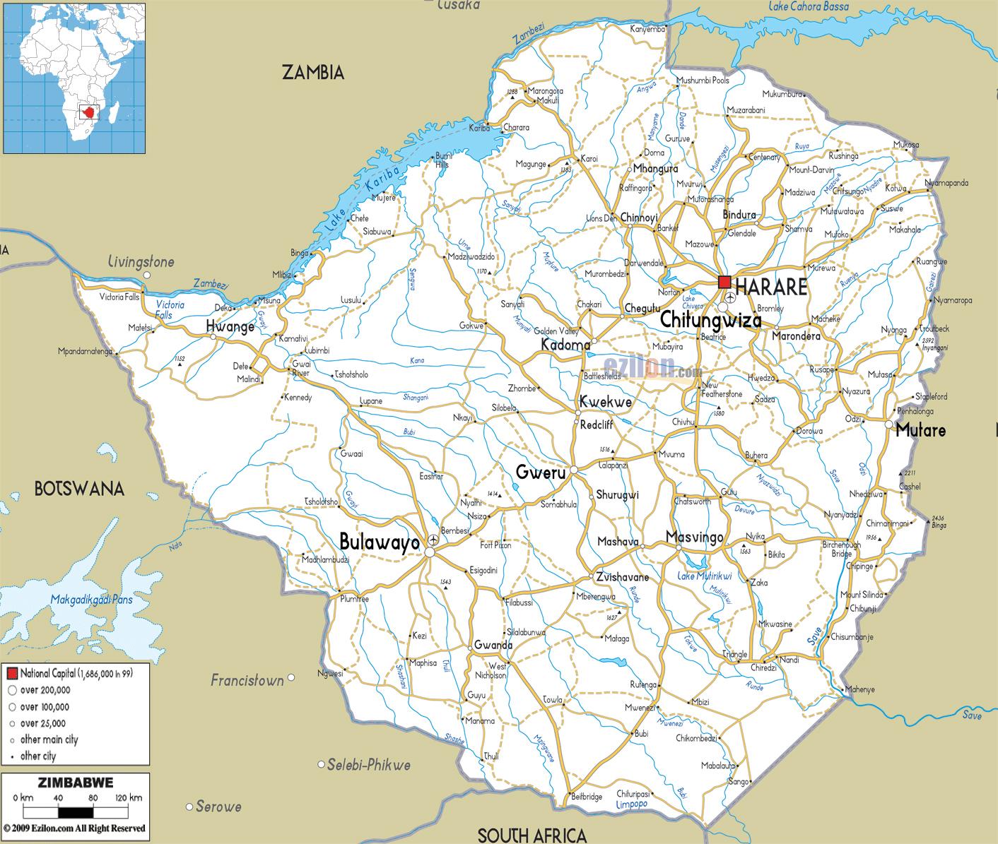 Detailed road map of Zimbabwe Zimbabwe detailed road map Vidiani