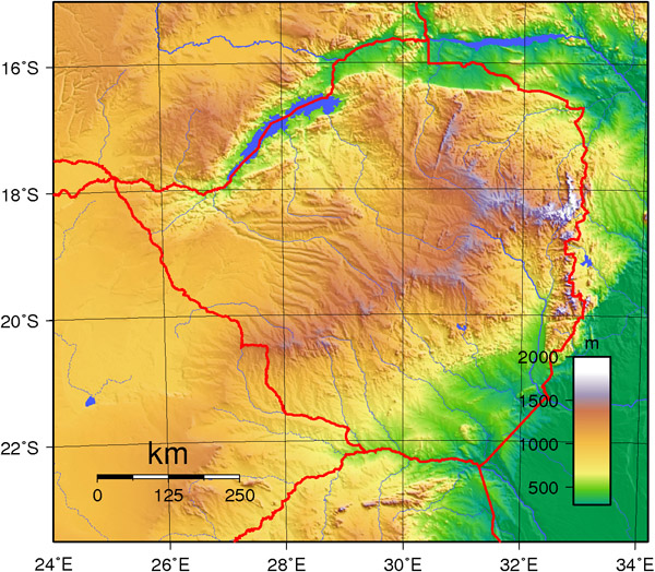Detailed topographical map of Zimbabwe. Zimbabwe detailed topographical map.