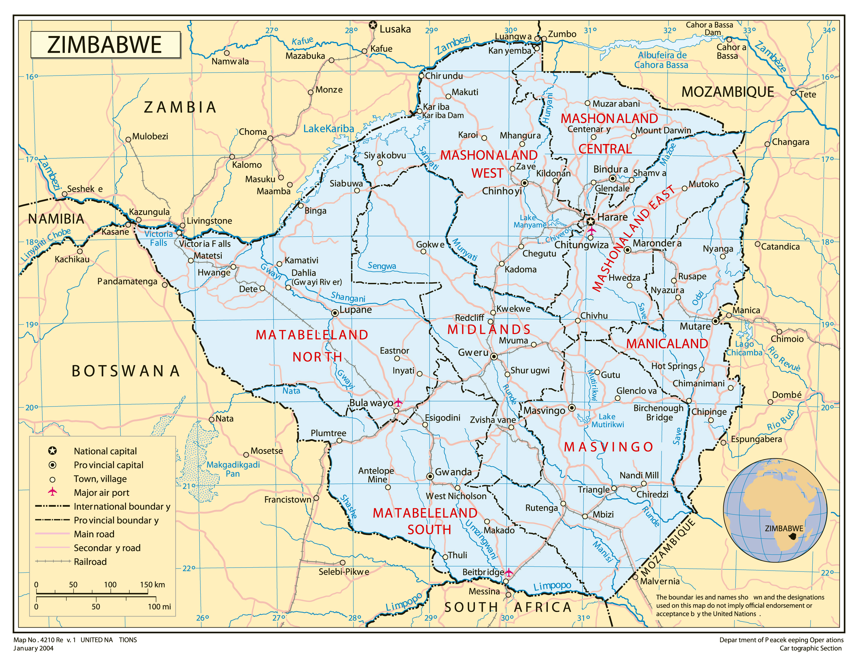 Full political map of Zimbabwe Zimbabwe full political map