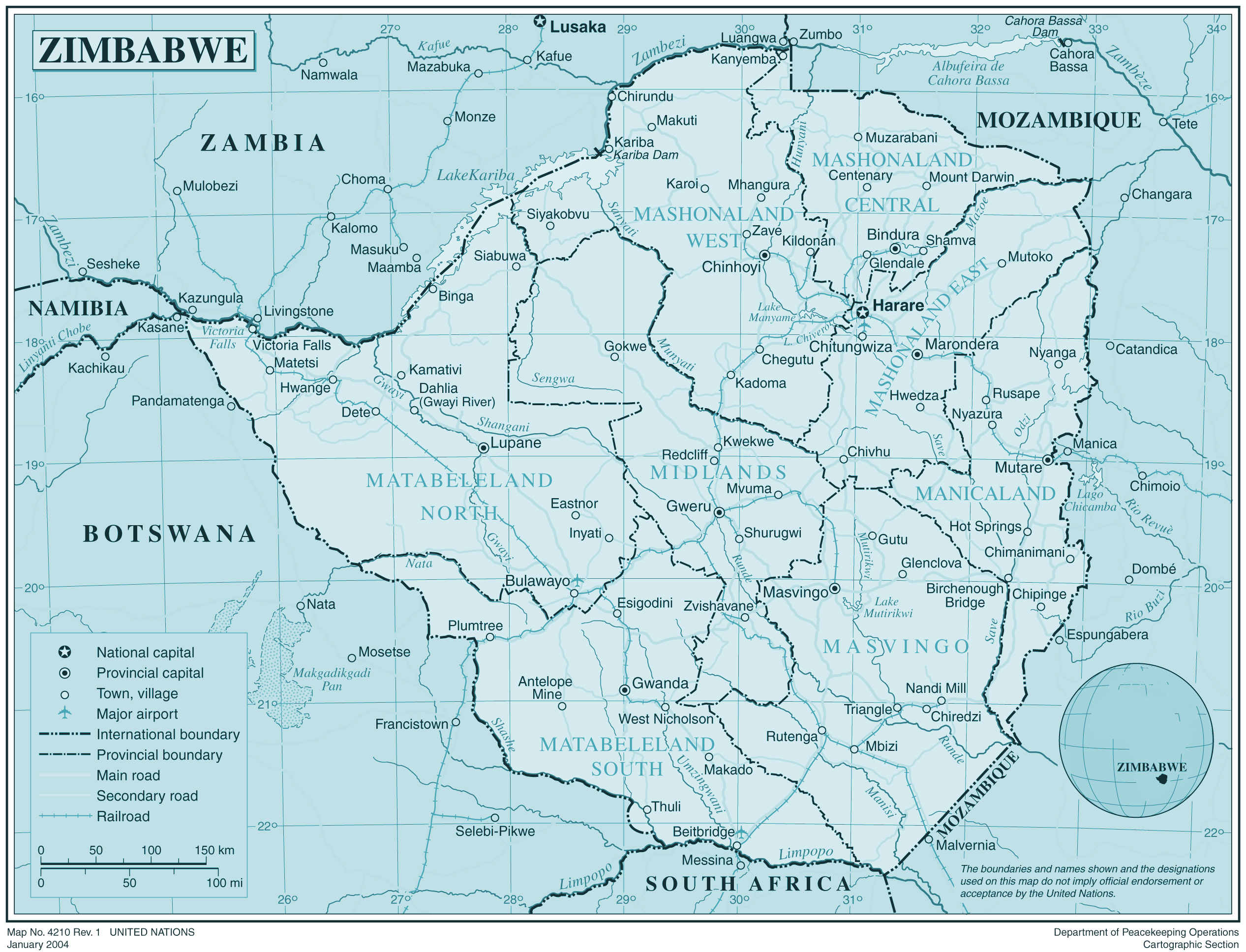Large detailed political and administrative map of zimbabwe large detailed political and administrative map of zimbabwe gumiabroncs Choice Image
