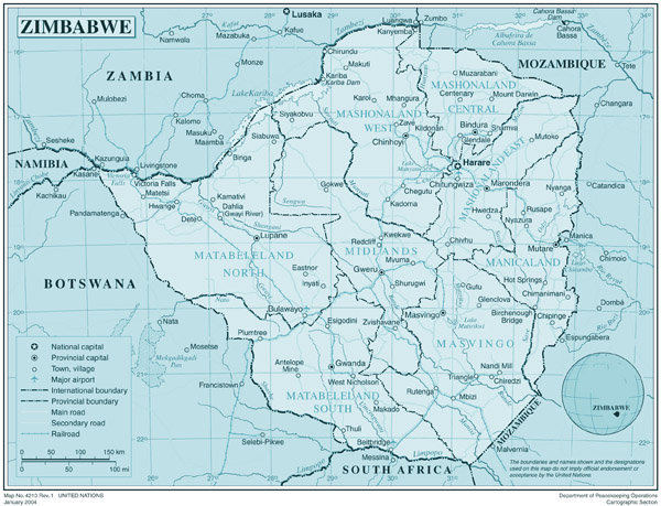 Large detailed political and administrative map of Zimbabwe.
