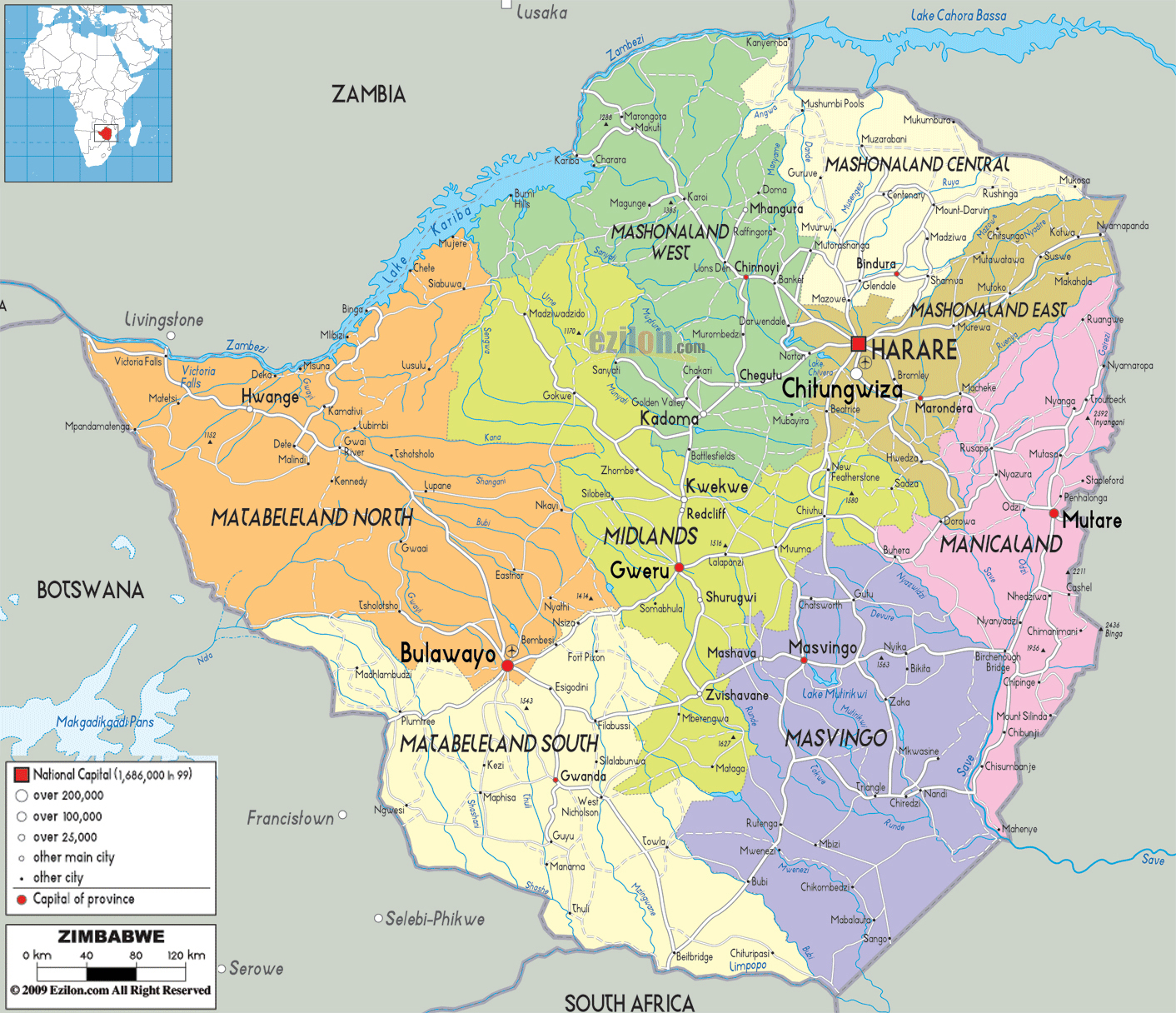 Large detailed political and administrative map of Zimbabwe with all