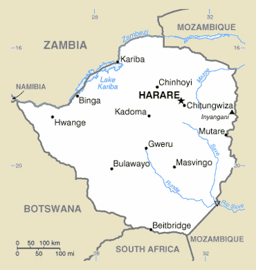 Map of Zimbabwe. Zimbabwe map.