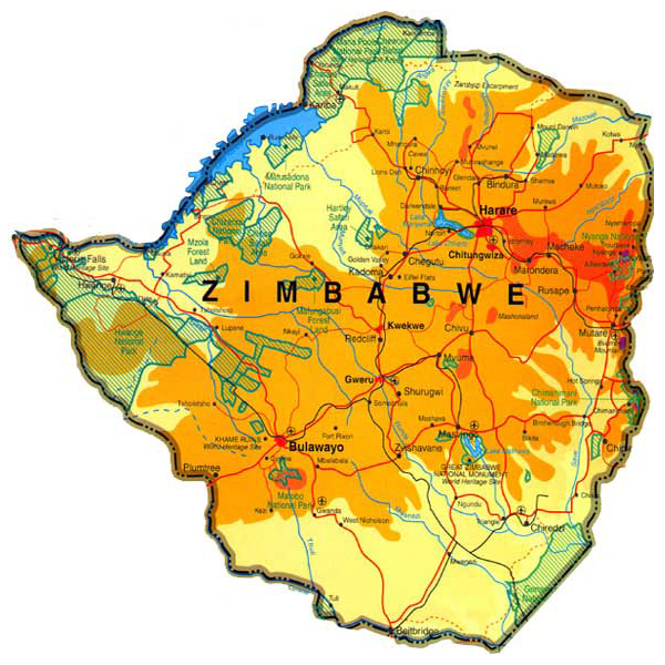 Physical map of Zimbabwe. Zimbabwe physical map.