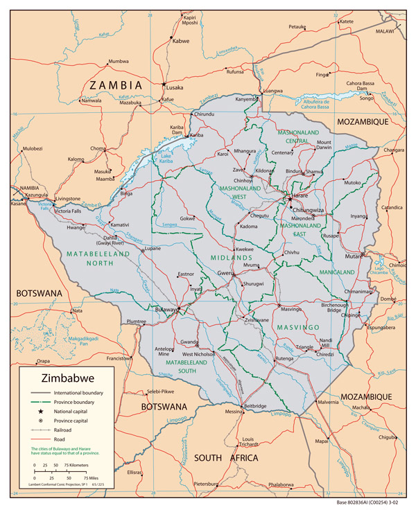 Political map of Zimbabwe. Zimbabwe political map.