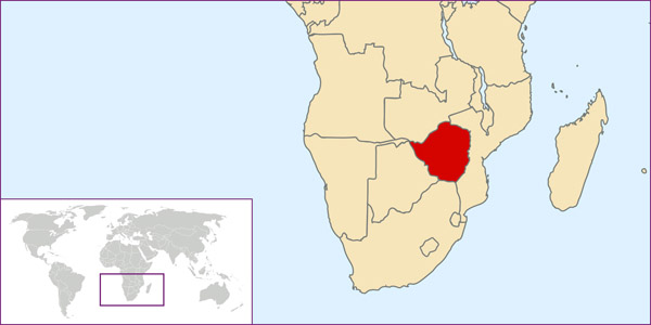 Zimbabwe detailed location map.