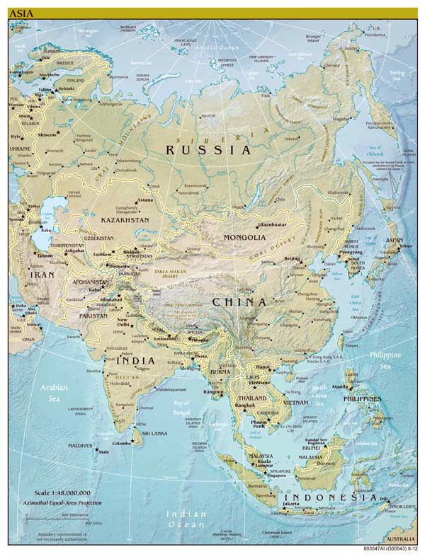 Asia large detailed political map with relief, all capitals and major cities.