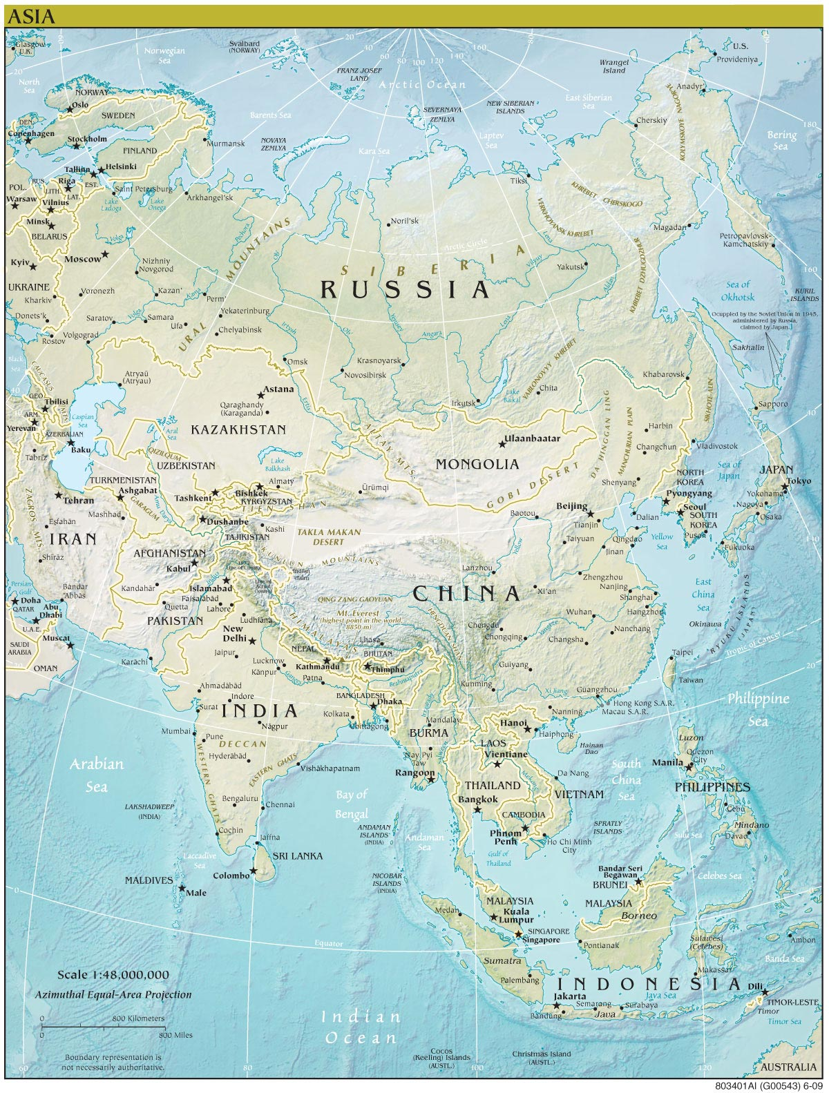 Asia Continent Detailed Physical Map Continent Detailed Physical - Physical map of asia