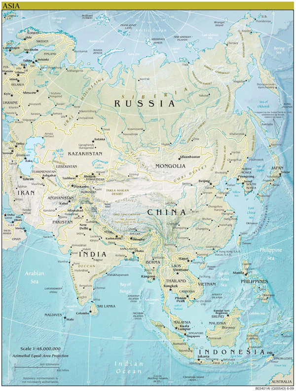Asia continent detailed physical map.