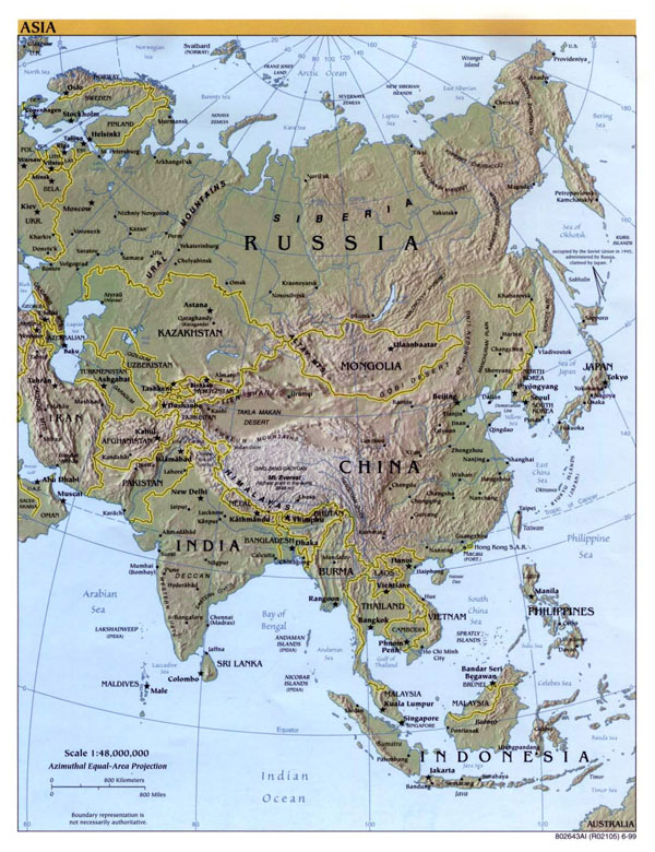 Detailed political map of Asia with relief - 1999.
