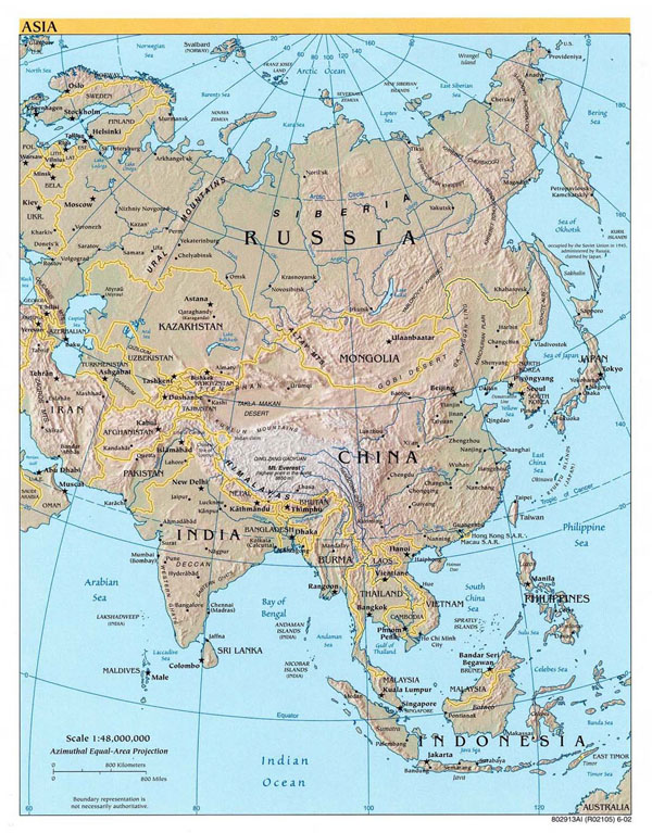Detailed political map of Asia with relief - 2002.