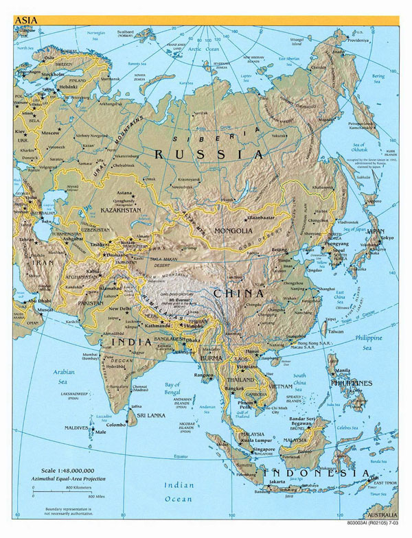 Detailed political map of Asia with relief, capitals and major cities - 2003.