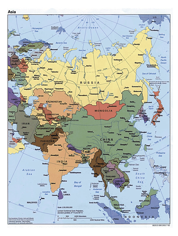 Detailed political map of Asia with all capitals.