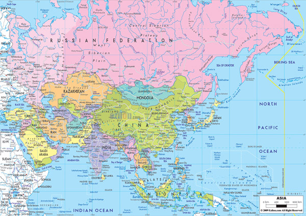 Detailed political map of Asia with highways.
