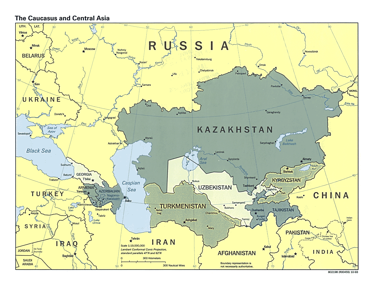 Detailed Political Map Of The Caucasus And Central Asia With