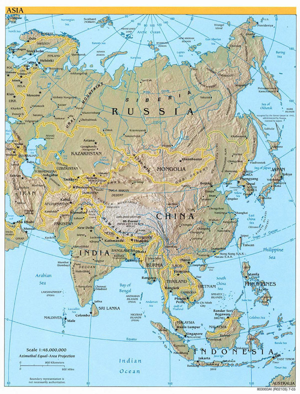 Detailed relief and political map of Asia.