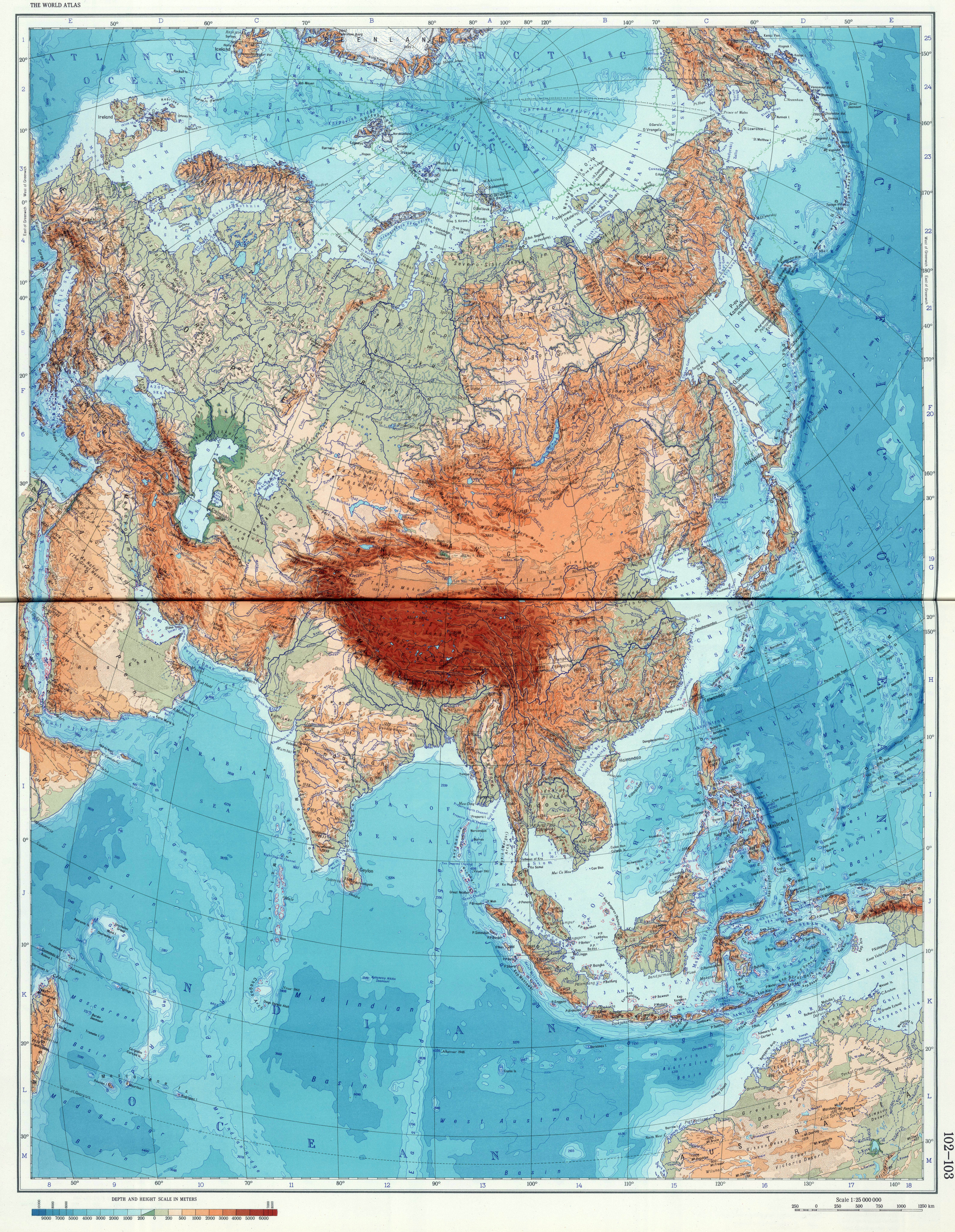 Large Detailed Geographical (physical) Map Of Eurasia. Eurasia Large  Detailed Physical Map.